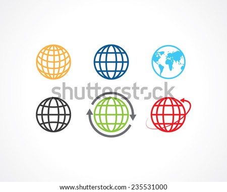 earth icons - stock vector