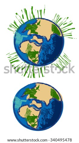 earth illustration doodle with color
