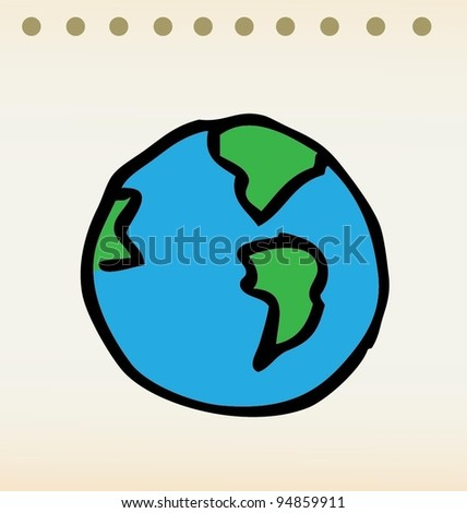 earth illustration doodle with color - stock vector