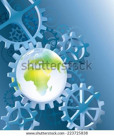 Earth in blue space machinery with cogwheels  - stock vector