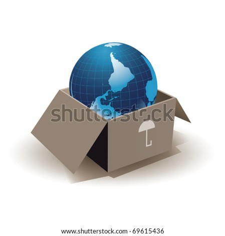 Earth in box - stock vector
