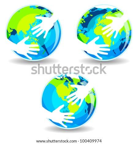 Earth In Hands - stock vector
