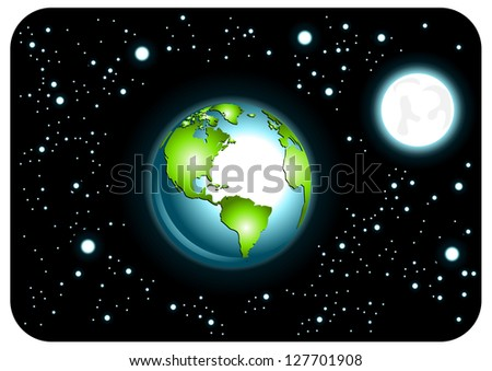 Earth in space - stock vector