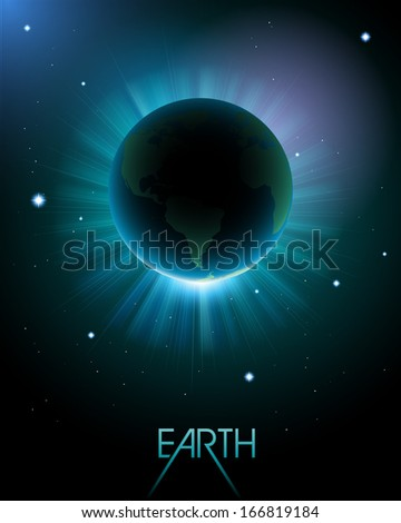 Earth in space, eps10 vector - stock vector