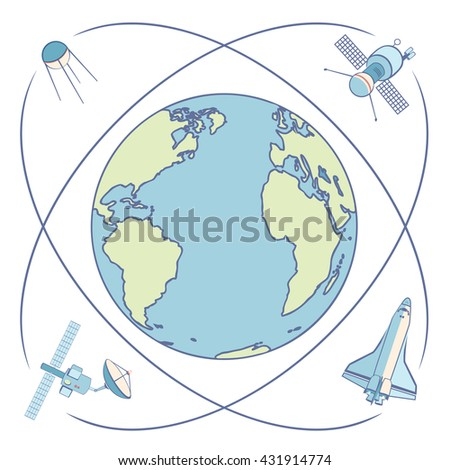 Earth in space. Satellites and spacecrafts orbiting Earth. Satellite in Earth orbit relaying communications, broadcasting, data transmission, positioning, locations. Flat elements, labels, icons. - stock vector