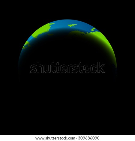 Earth in the eclipse on a black background