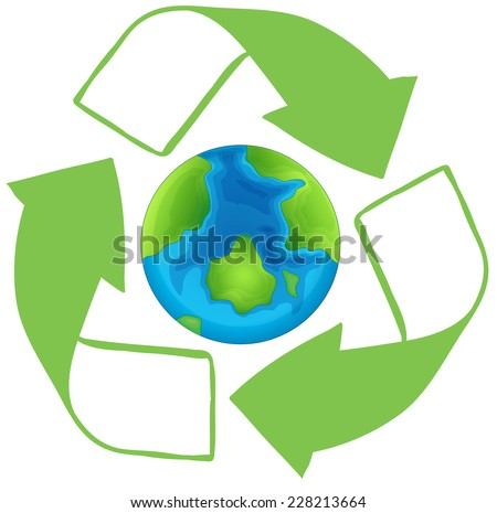 Earth in the middle of a recycle symbol