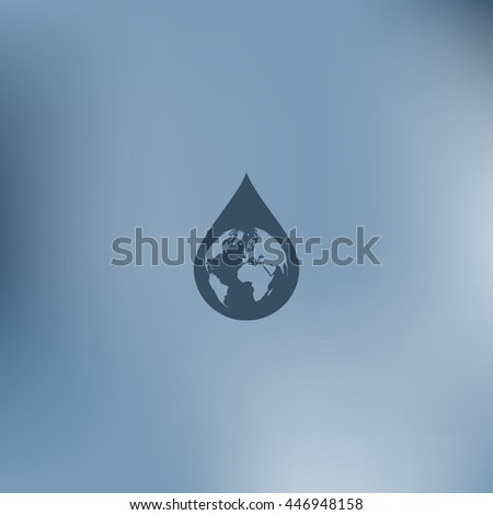 Earth in water-drop stock vector icon illustration