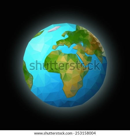 Earth. Low poly vector illustration