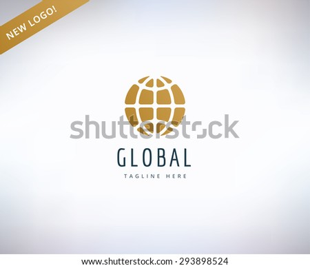 Earth map logo icon. Globe, travel or nature and business. Stock design element. - stock vector