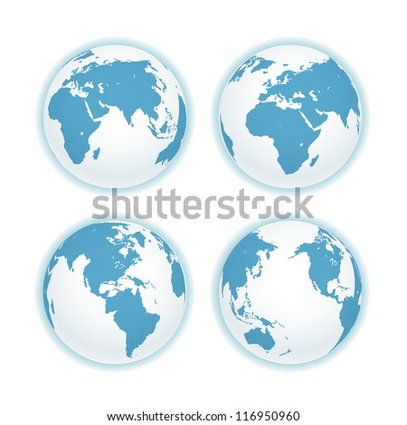 Earth map scheme isolated on white. Vector collection - stock vector