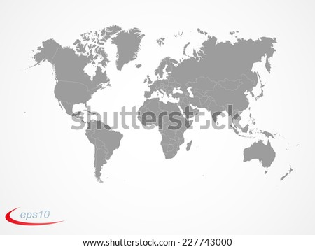 Earth map with countries borders - stock vector