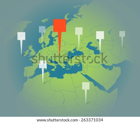 Earth map with destination points template - stock vector