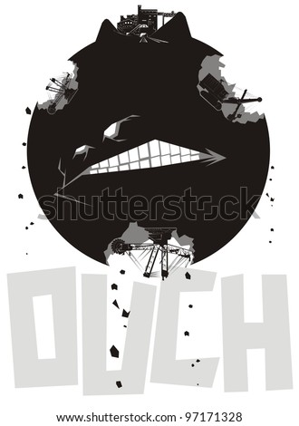 Earth movers mercilessly excavating coal from a hurting planet earth - black and white illustration - stock vector