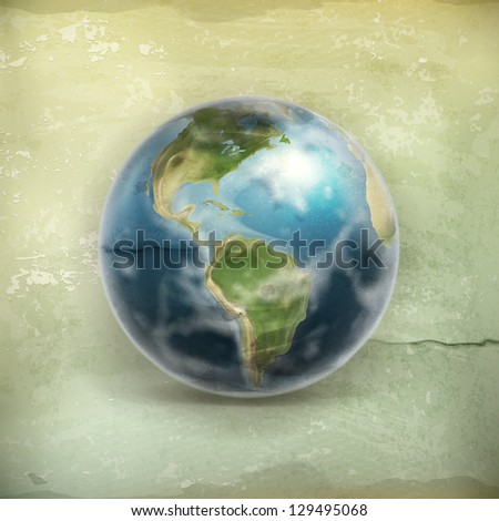 Earth, old-style vector