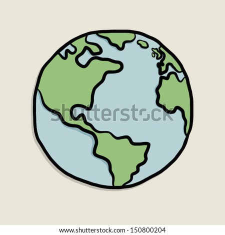 earth on paper / cartoon vector and illustration, isolated on white background. - stock vector