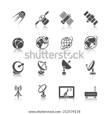 Earth orbit space station and satellite dish digital receiver communication icons set black abstract isolated vector illustration - stock vector