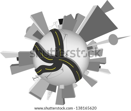 Earth perfect precise machine. World population, human impact  - stock vector