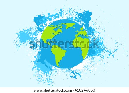Earth Planet Blue Globe Flat Vector Illustration
