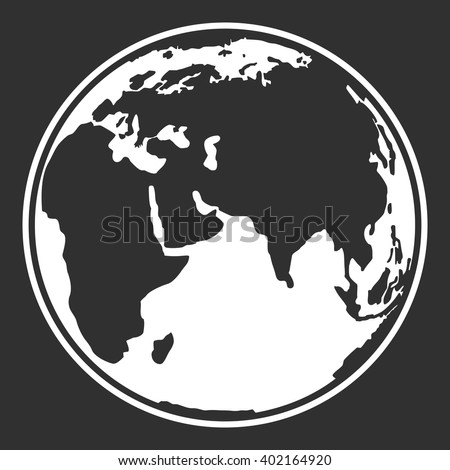 Earth planet globe web and mobile icon design. Contour white symbol of earth planet on black background. Vector illustration. - stock vector