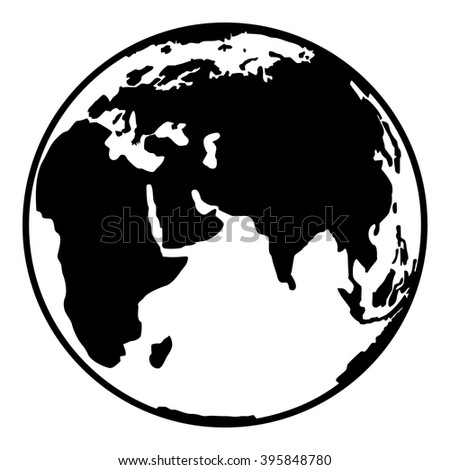 Earth planet globe web and mobile icon in flat design. Contour black symbol of earth planet. Isolated on white background. Vector illustration. - stock vector