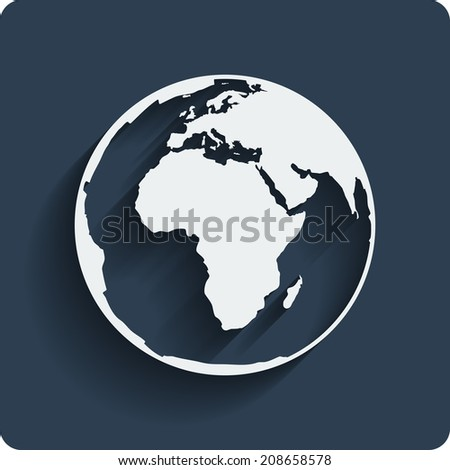 Earth planet globe web and mobile icon in flat design with long shadow. Vector. - stock vector