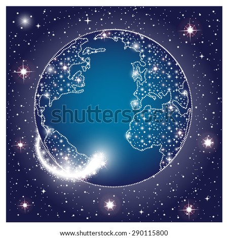 Earth planet in dark space with glowing sparkle stars. Vector illustration - stock vector