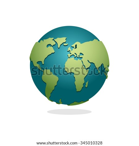 Earth Planet. Sign of globe. Space Earth on white background. World globe map. Continents and oceans.