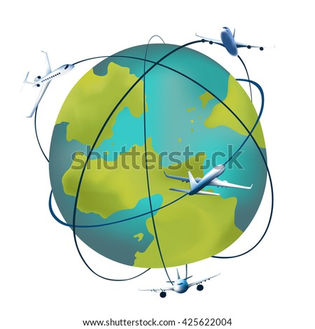 Earth planet with airplanes around. Vector illustration of a cartoon design earth planet globe with aircraft and flight paths isolated on white. - stock vector