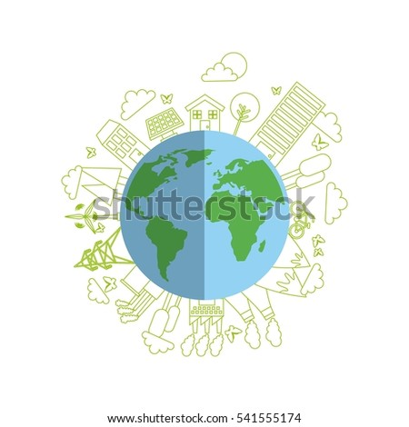 earth planet with ecology and think green icons around over white background. colorful design. vector illustration