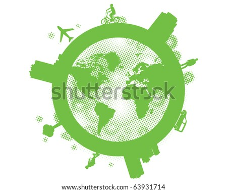 Earth, planet, world map. Vector format. - stock vector