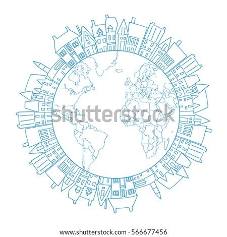Earth Round Frame Doodle Village Circle Stock Vector HD (Royalty ...