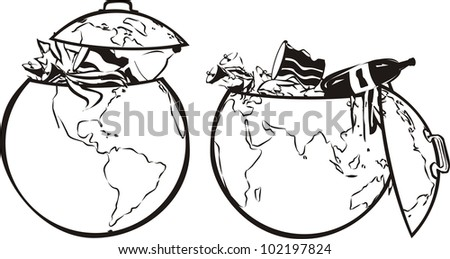 earth`s dumpster - black and white - stock vector