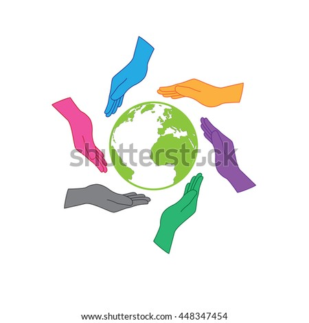 Earth saving icon logo. Six hands are protecting the earth. Six colors hands representing people all around the world, whatever nation, continent or skin color would have responsibility to the earth - stock vector