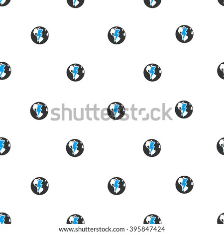Earth Shock vector seamless repeatable pattern. Style is flat blue and dark gray earth shock symbols on a white background. - stock vector