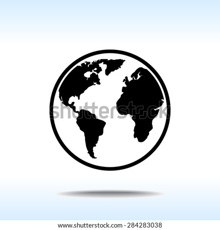 Earth sign icon, vector illustration. Flat design style - stock vector
