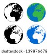 Earth Silhouette Vector Illustrations - stock vector