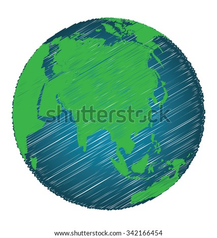Earth Sketch Hand Draw Focus Asia Continent, Credit world Map of Nasa - stock vector