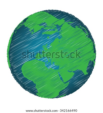 Earth Sketch Hand Draw Focus Europe Continent, Credit World Map of Nasa - stock vector