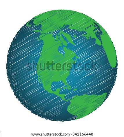 Earth Sketch Hand Draw Focus North America Continent, Credit World Map of Nasa - stock vector