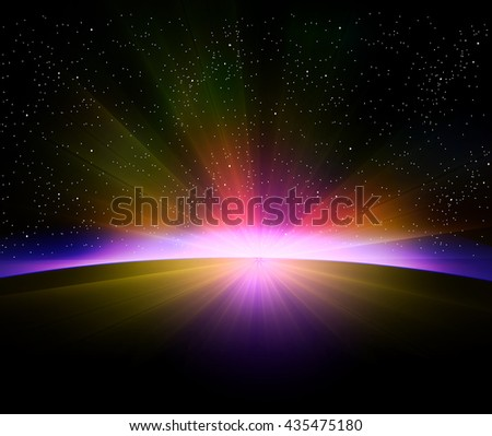 Earth sunrise with rays and lens flare - stock vector