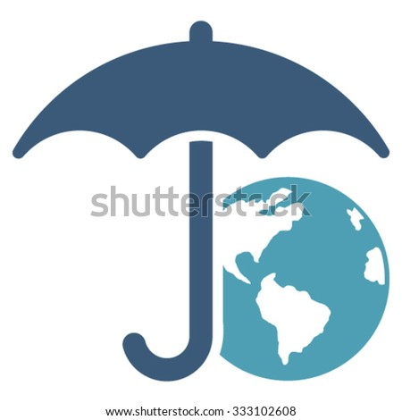 Earth Umbrella vector icon. Style is bicolor flat symbol, cyan and blue colors, rounded angles, white background.