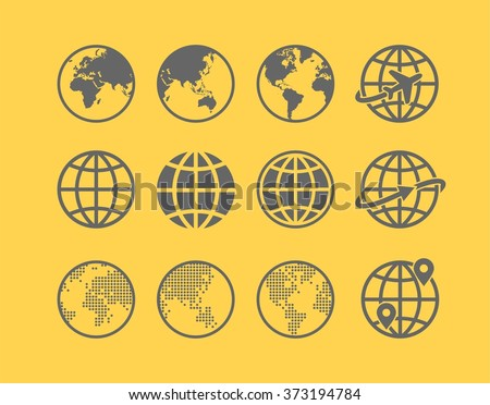 Earth Vector globe Icon set. Collection of twelve simple Earth globe / world map icons - stock vector