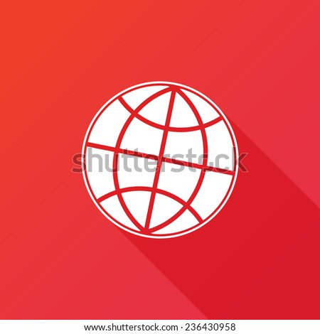 Earth vector icon. Globe icon background. Flat design style with long shadow - stock vector