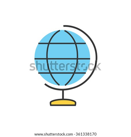 Earth vector icon. Globe icon background. World globe school icon. Globe icon isolated on white. Education Globe Earth symbol. Globe silhouette. Geography Earth map. Thin line Globe Earth. World globe - stock vector