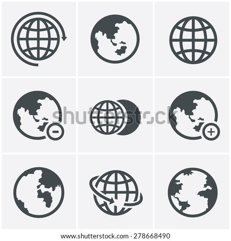 Earth vector icons set - stock vector
