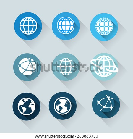 Earth vector icons set. Credit  - stock vector