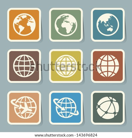 Earth vector icons set. Credit : NASA - stock vector