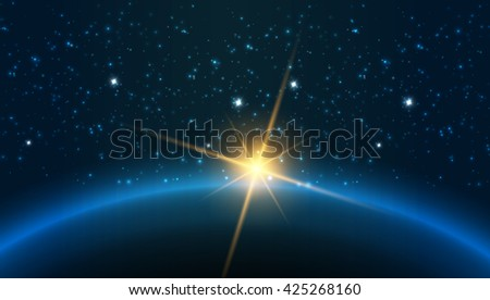 Earth - Vector illustration presents planets of the solar system - stock vector