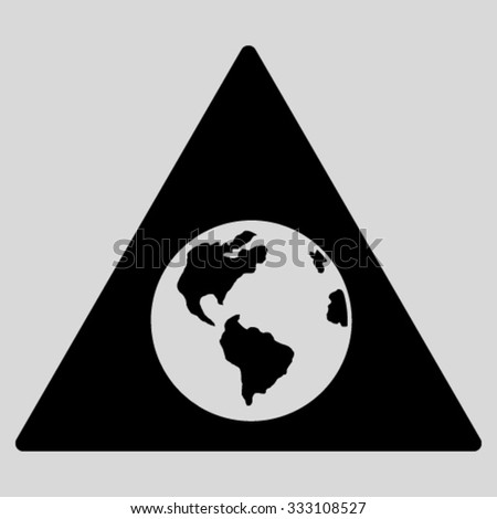 Earth Warning vector icon. Style is flat symbol, black color, rounded angles, light gray background.